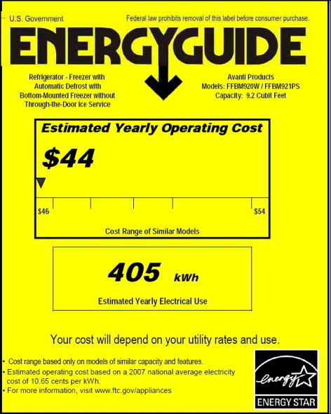avanti refrigerator energyguide